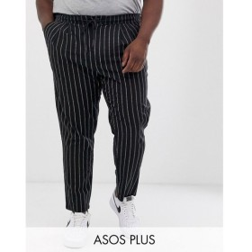 エイソス ASOS DESIGN メンズ ボトムス・パンツ Plus cigarette trousers in textured stripe Black