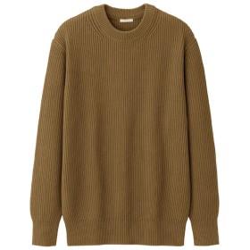 (GU)ウォッシャブルコットンアゼクルーネックセーター(長袖) BROWN M