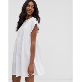 エイソス ASOS DESIGN レディース ワンピース ワンピース・ドレス button sleeve mini slubby smock dress White