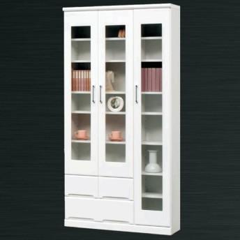 本棚 書棚 扉付き 幅90cm 完成品 鏡面 白