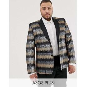 エイソス ASOS EDITION メンズ スーツ・ジャケット アウター Plus skinny suit jacket in grey and gold sequins Gold