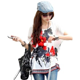 Women Blouse Casual Short Sleeve Top Round Neck Summer Loose Bat Sleeve Cold Shoulder Bohemian Tunic Blouse with Waist Belt (04)
