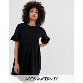 エイソス ASOS Maternity レディース ワンピース ワンピース・ドレス ASOS DESIGN Maternity cotton slubby frill sleeve smock dress Black