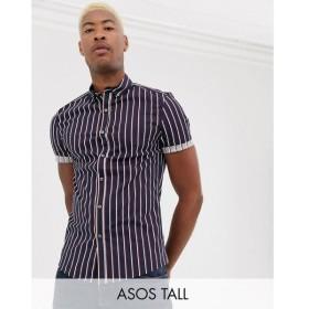 エイソス ASOS DESIGN メンズ シャツ トップス Tall skinny stretch stripe shirt in navy Navy