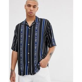 デュー デリジェンス Due Diligence メンズ トップス revere collar shirt in logo stripe Blue