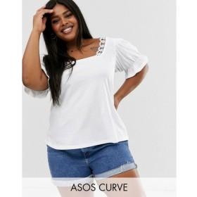 エイソス ASOS Curve レディース トップス ASOS DESIGN Curve square neck top with lace trim White