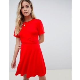 エイソス ASOS DESIGN レディース ワンピース ワンピース・ドレス flutter sleeve wrap waist tea dress Red