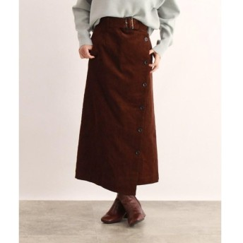 OZOC / オゾック [洗える]ベルト付きコーデュロイラップ風スカート