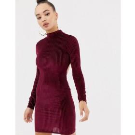 ミスガイデッド Missguided レディース ワンピース ワンピース・ドレス ribbed velvet open back mini dress in burgundy Burgundy