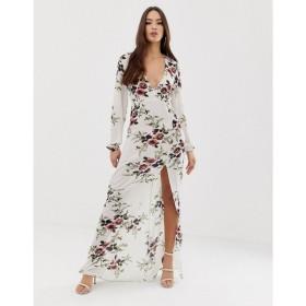 アックスパリス AX Paris レディース ワンピース ワンピース・ドレス maxi floral dress Cream