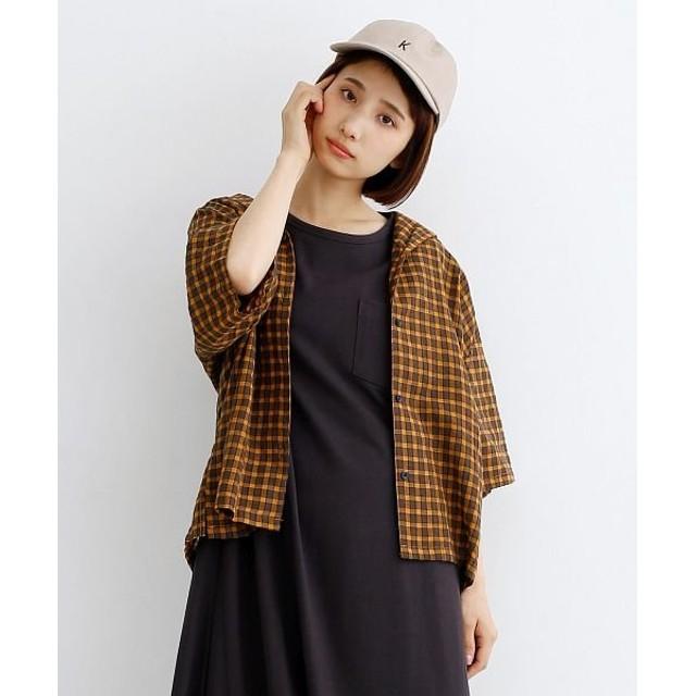 メルロー 配色ボタンチェック柄オープンカラーシャツ レディース イエロー FREE 【merlot】
