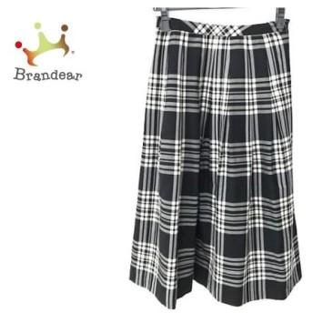 ヨークランド YORKLAND ロングスカート サイズ7 S レディース 美品 黒×白 プリーツ/チェック柄 新着 20190824