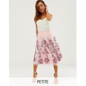 チチロンドン Chi Chi London Petite レディース ひざ丈スカート スカート embroidered midi prom skirt in pink Pink