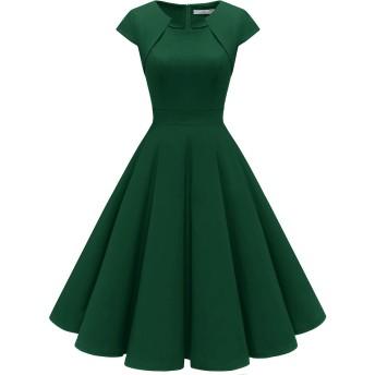 Homrain 結婚式 ワンピース 50年代 ワンピース カップ袖/7分袖 パーティードレス ロカビリー ワンピース aラインスイングワンピース ダークグリーン 2XLサイズ