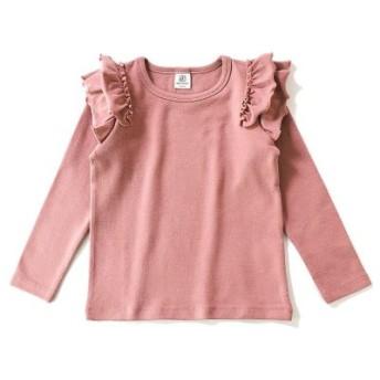 (devirock/デビロック)肩フリル長袖Tシャツ/レディース ピンク系1