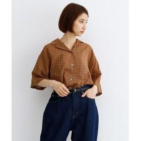 メルロー 配色ボタンチェック柄オープンカラーシャツ レディース オレンジ FREE 【merlot】
