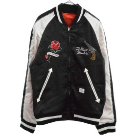 BEDWIN & THE HEARTBREAKERS(ベドウィンアンドザハートブレーカーズ)18SS MCKNIGHT 胸刺繍スーベニアジャケット ブラック/ホワイト IVORY 18SB5465