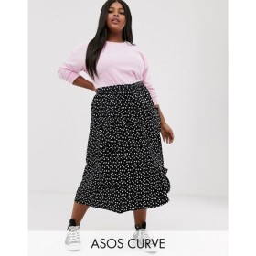 エイソス ASOS Curve レディース ひざ丈スカート スカート ASOS DESIGN Curve midi skirt with pockets and buttons in heart print Mono heart
