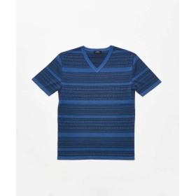 (5351POUR LES HOMMES/5351プール・オム)コンパクトツイストVネック半袖ニット/メンズ ブルー