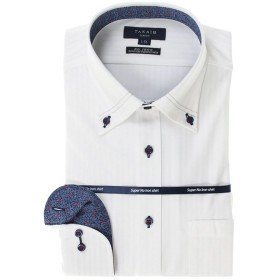 タカキュー ノーアイロン高機能 スリムフィットボタンダウン長袖ニットシャツ メンズ ホワイト L:41-82 【TAKA-Q】
