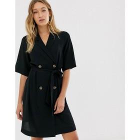 モンキー Monki レディース ワンピース ワンピース・ドレス double breasted tie waist mini dress in black Black