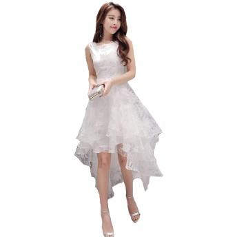 [ ナチュシー ] レディース ワンピース ドレス アシンメトリー オーガンジー フレア 結婚式 二次会 パーティー 披露宴 (05 ホワイト XXL)