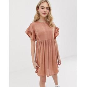 エイソス ASOS DESIGN レディース ワンピース ワンピース・ドレス metallic frill sleeve smock dress Rose