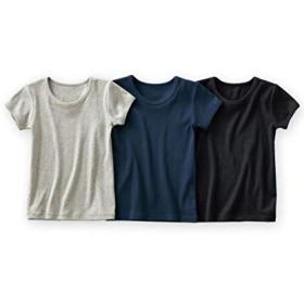 [nissen(ニッセン)] 男児ベーシック 半袖 シャツ 3枚組 男の子 キッズ 杢グレー+紺+黒 130 セット組