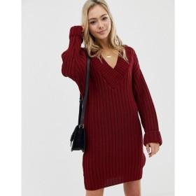 エイソス ASOS DESIGN レディース ワンピース ワンピース・ドレス v neck knitted mini dress in chunky rib Dark red