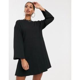 エイソス ASOS DESIGN レディース ワンピース ワンピース・ドレス rib oversized smock dress Black
