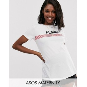 エイソス ASOS Maternity レディース Tシャツ トップス ASOS DESIGN Maternity t-shirt with stripe and femme motif with raw hem White