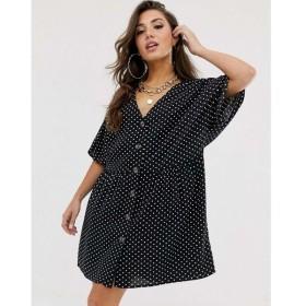 エイソス ASOS DESIGN レディース ワンピース ワンピース・ドレス v neck button through mini smock dress in spot Black/white spot