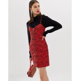 リバーアイランド River Island レディース ワンピース ワンピース・ドレス zip through mini dress in red zebra Red