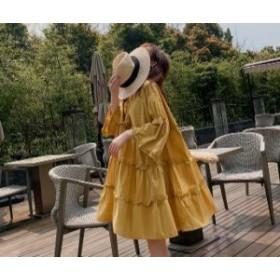 無地 ひざ上丈 ワンピース レディース 韓国 オルチャン ファッション 夏服 レディース 夏新作ワンピース 韓国 風 レディース ファッショ
