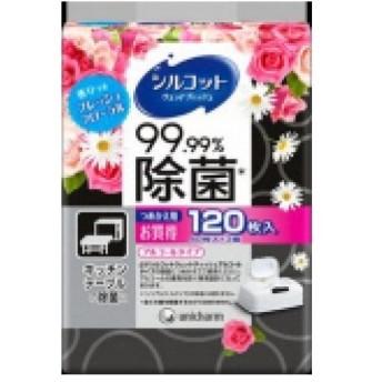 シルコット ウェットティッシュ 99.99%除菌 フレッシュフローラルの香り つめかえ用 (40枚×3個パック