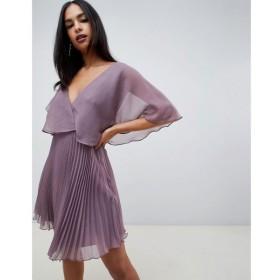 エイソス ASOS DESIGN レディース ワンピース ワンピース・ドレス flutter sleeve mini dress with pleat skirt Dusty purple
