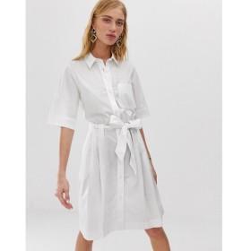 モンキー Monki レディース ワンピース ワンピース・ドレス tie waist shirt dress in white White