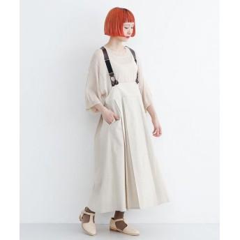 メルロー レザーサスペンダーボックスプリーツスカート レディース アイボリー FREE 【merlot】