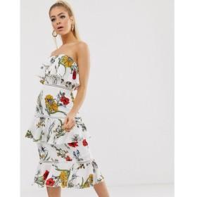 プリティリトルシング PrettyLittleThing レディース ワンピース ワンピース・ドレス bandeau midi dress in white floral Multi