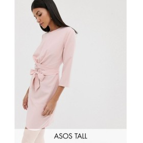 エイソス ASOS Tall レディース ワンピース ワンピース・ドレス ASOS DESIGN Tall tie wrap around mini dress Rose pink