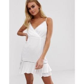 プリティリトルシング PrettyLittleThing レディース ワンピース ワンピース・ドレス cami wrap dress with ruffle hem in white White