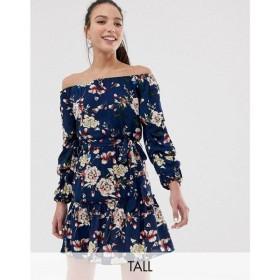 パリジャン Parisian Tall レディース ワンピース ワンピース・ドレス off shoulder skater dress in navy floral Navy floral