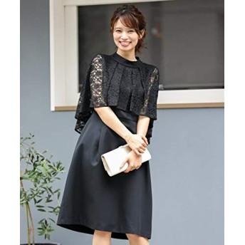 [nissen(ニッセン)] スマイルサイズ レースケープ風 ワンピース ドレス 結婚式 二次会 お呼ばれ対応 大きいサイズ レディース 黒 6L
