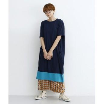 メルロー ビビットカラー配色Tシャツワンピース レディース ネイビー FREE 【merlot】