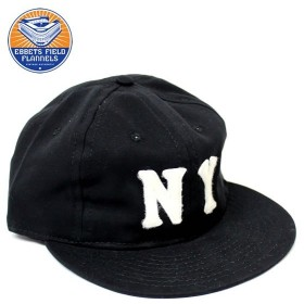 EBBETS FIELD FLANNELS/ NEW YORK BLACK YANKEES 1936 6PANEL COTTON TWILL CAP -BLACK / エベッツ キャップ フリーサイズ / NY