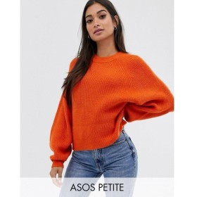エイソス ASOS Petite レディース トップス ASOS DESIGN Petite fluffy jumper with balloon sleeve Orange