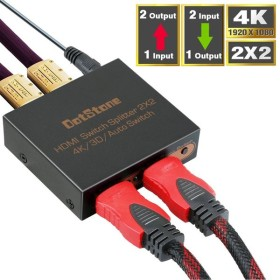 HDMI切替器 DotStone 双方向 hdmi分配器 2入力2出力 3D/4K/1080P対応 テレビ/プロジェクター/ PS4/ /DVDなど対応 フルHD 相性良い 手動切替 電源アダプター付き