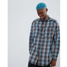 エイソス ASOS DESIGN メンズ シャツ トップス oversized check shirt with distressing Blue