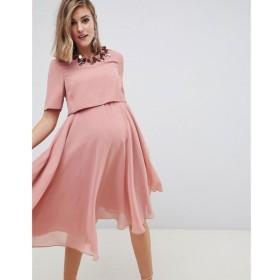 エイソス ASOS Maternity レディース ワンピース ワンピース・ドレス ASOS DESIGN Maternity midi dress with 3D embellished neckline Rose pink