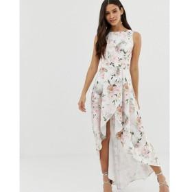 チチロンドン Chi Chi London レディース ワンピース ワンピース・ドレス midi dress with wrap skirt and hi low hem in floral print Multi